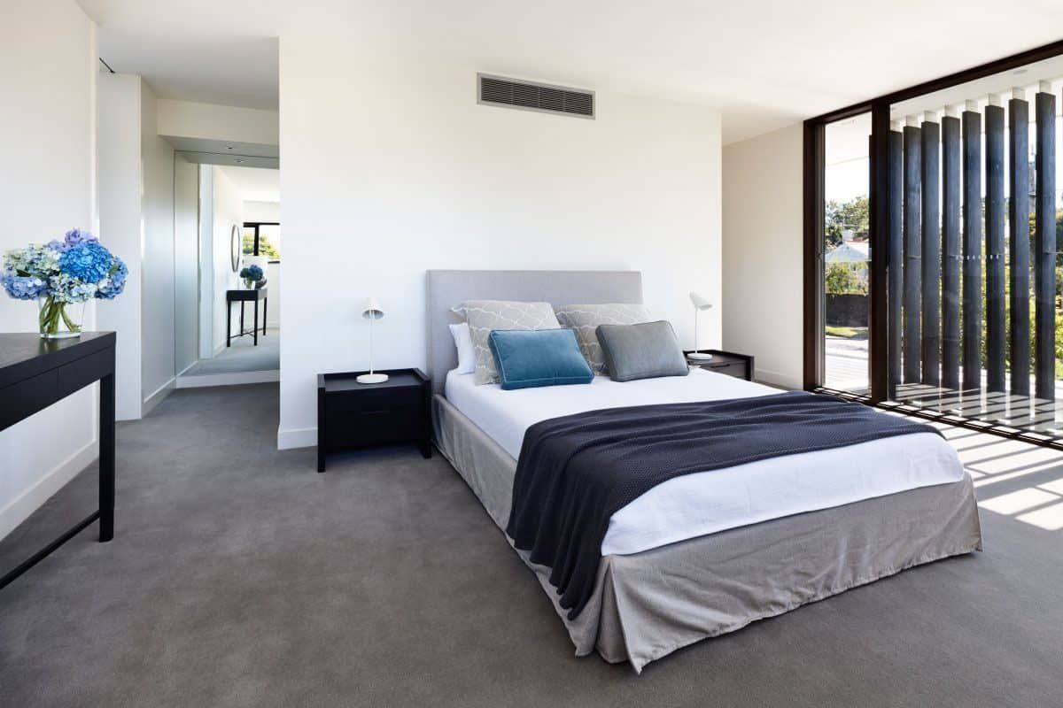 . Contemporary Bedroom With Grey Carpet   House design in 2019   Grey