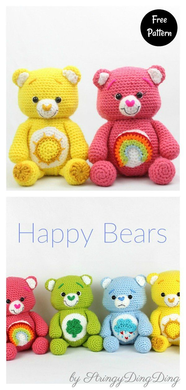 Rainbow Bears Free Crochet Pattern