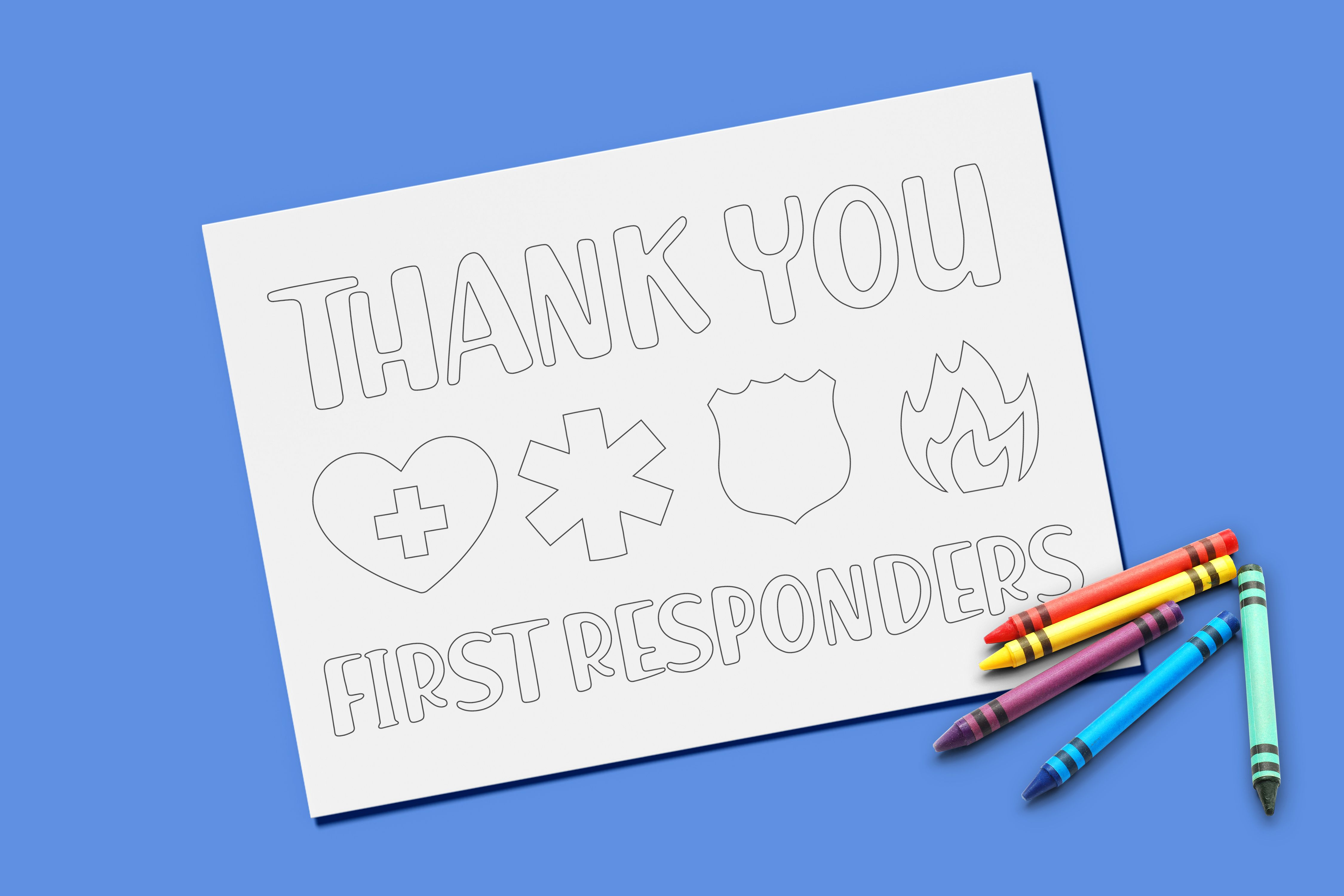 Thank You First Responders Coloring Page Interactive Printable Printable Coloring Pages Coloring Pages Kindergarten Art Projects