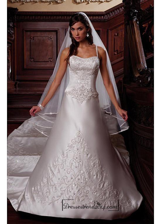 Beautiful Elegant Satin A-line Spaghetti Straps Wedding Dress In Great Handwork - Dressestrend2014.com