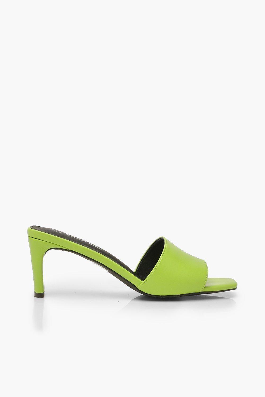 Low Flat Heel Mules Boohoo Heeled Mules Heels Green Heels