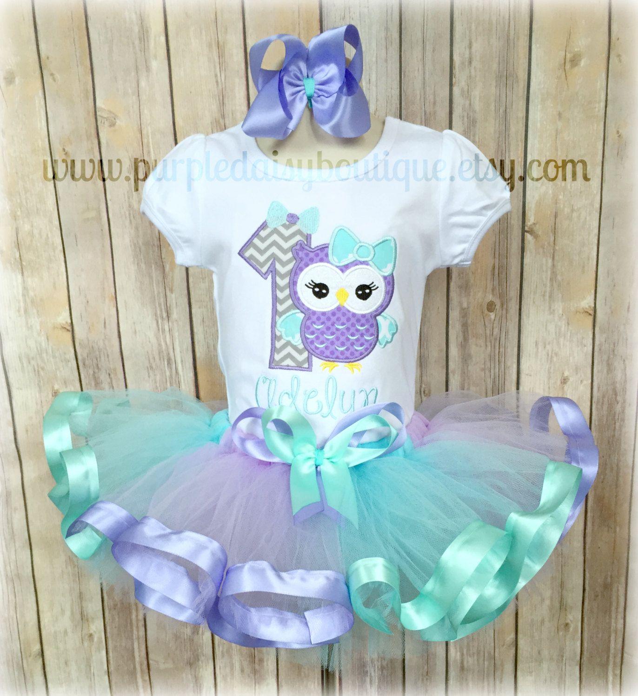 Birthday owl with bow ribbon trim tutu outfit in purple - Disfraces de buhos ...
