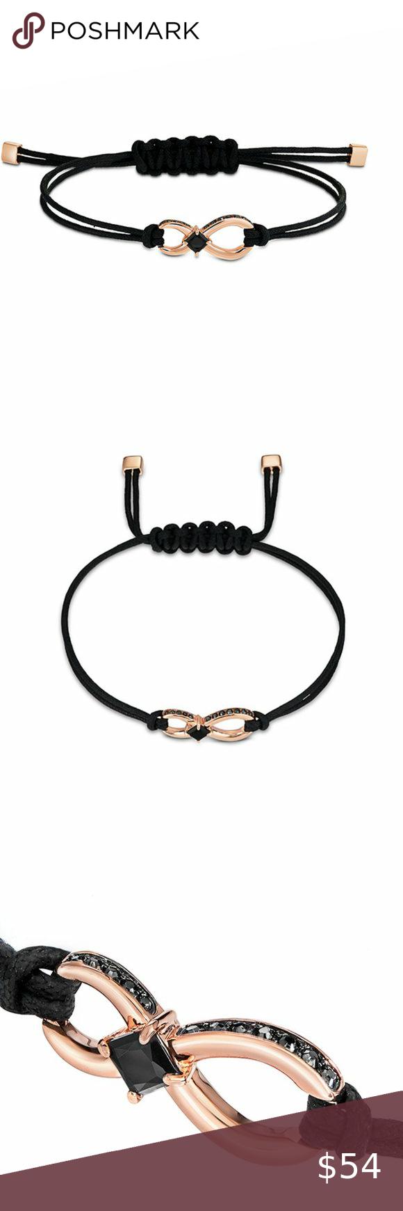 Swarovski Infinity Bracelet, Black, Rose-gold Tone Material: Rose ...
