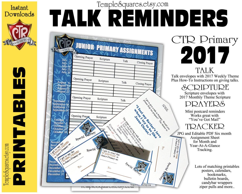 Printable Primary  Ctr Talk Reminders Scriptures Prayers