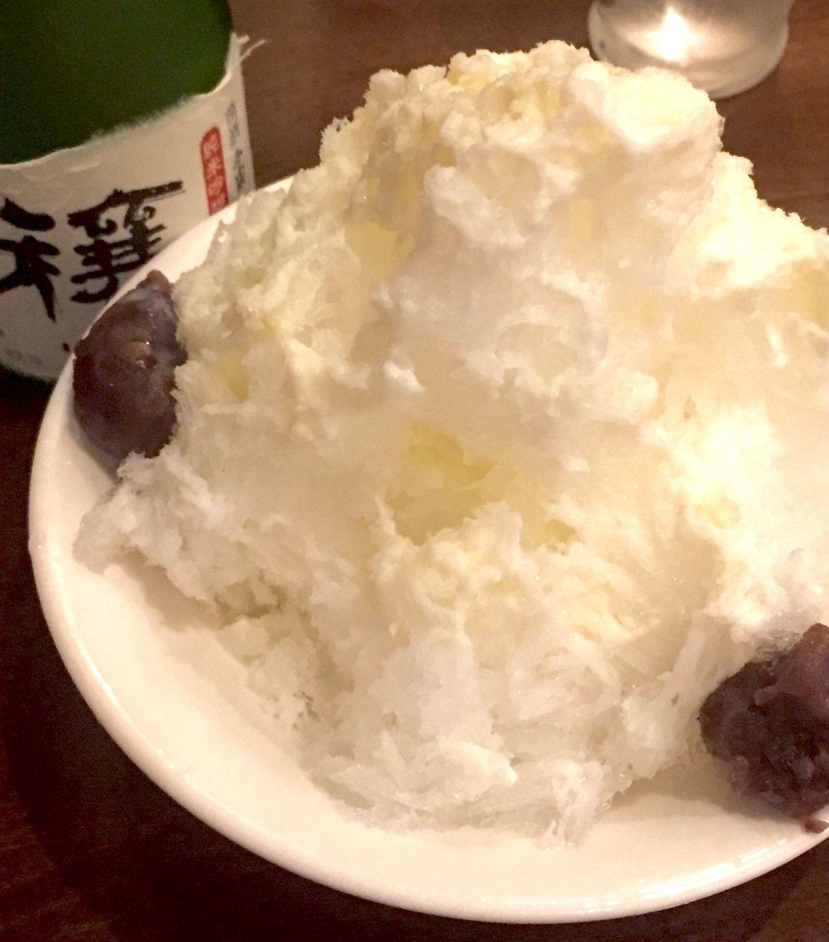 1年中食べられる! 東麻布たこ八のかき氷。 小倉ミルクです。