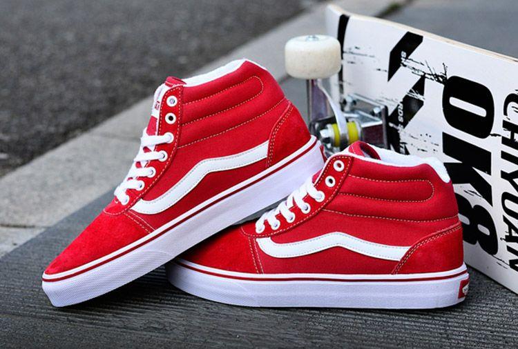 Vans SK8 High Red Suede Canvas Skateboard Shoe Vans For Sale  Vans ... 519164f86