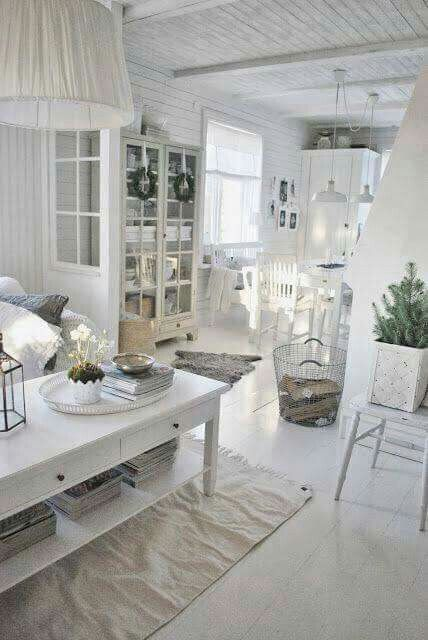 Total White Chic Home Decor Swedish Decor Shabby Chic Salon
