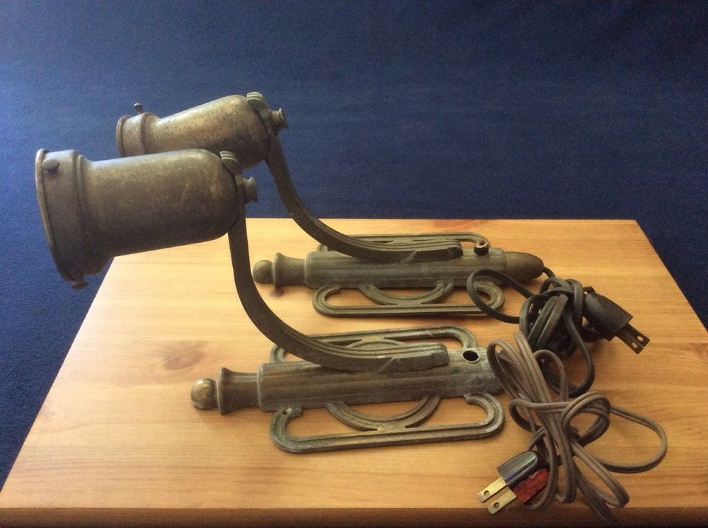 Vintage Industrial Steampunk Brass Metal Wall Sconce Light Set