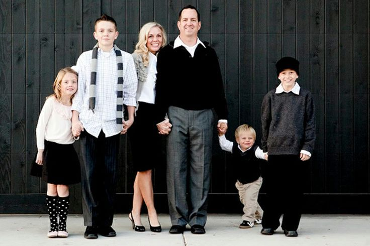 Family picture clothes by color black and white