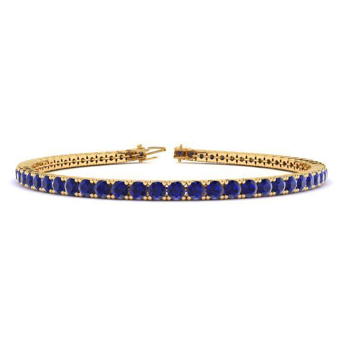 c499e4319ee 8.5 Inch 6 1 3 Carat Sapphire Tennis Bracelet In 14K Yellow Gold  8.5 Inch  6 1 3 Carat Sapphire Tennis Bracelet In 14K Yellow Gold This…   6inchgoldbracelets