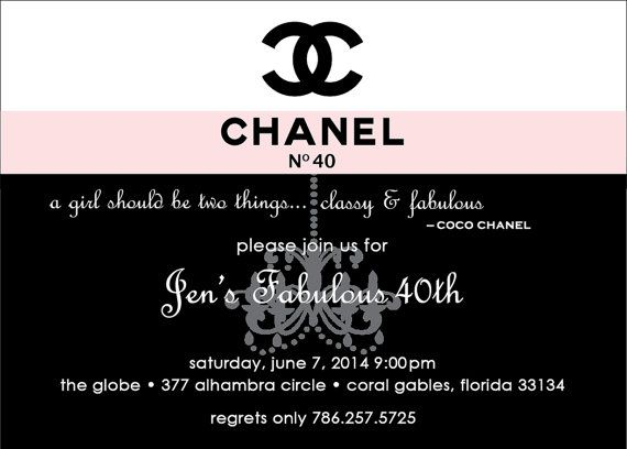 CHANEL inspired Party Invitation DIGITAL FILE by SocialImagesInc