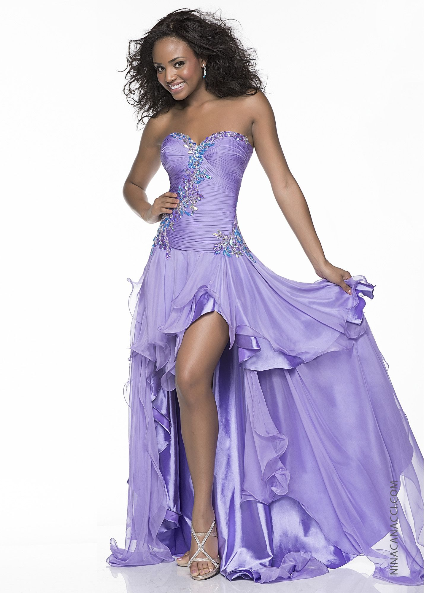 Nina canacci lilac beaded high low prom dresses online