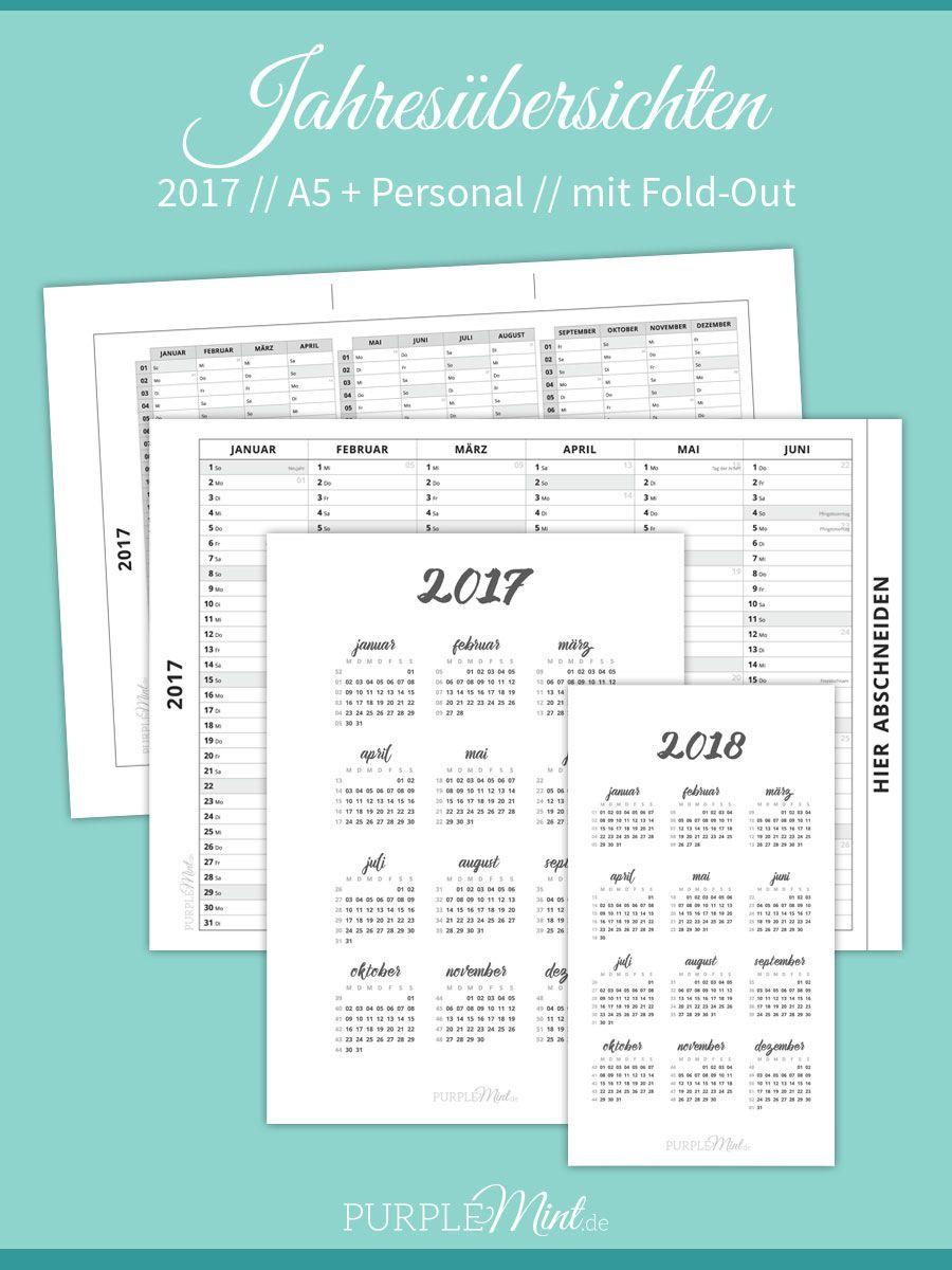 Jahresübersicht 2017 // A5 + Personal [freebie | Kalender ...