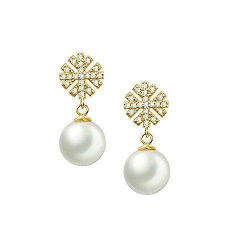 Boucle d'oreille perle blanche pendante
