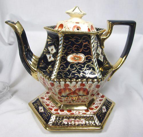Elegant Victorian Antique Imari Gaudy Welsh Floral Royal Crown Derby Teapot Royal Crown Derby