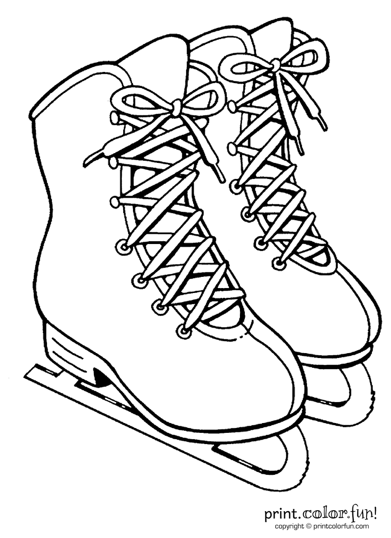Slip And Slide On The Ice With This Picture Of Some Girls Ice Skates The Big Birthday Calendar Book Large Coloring Pages Ice Skating Templates Printable Free