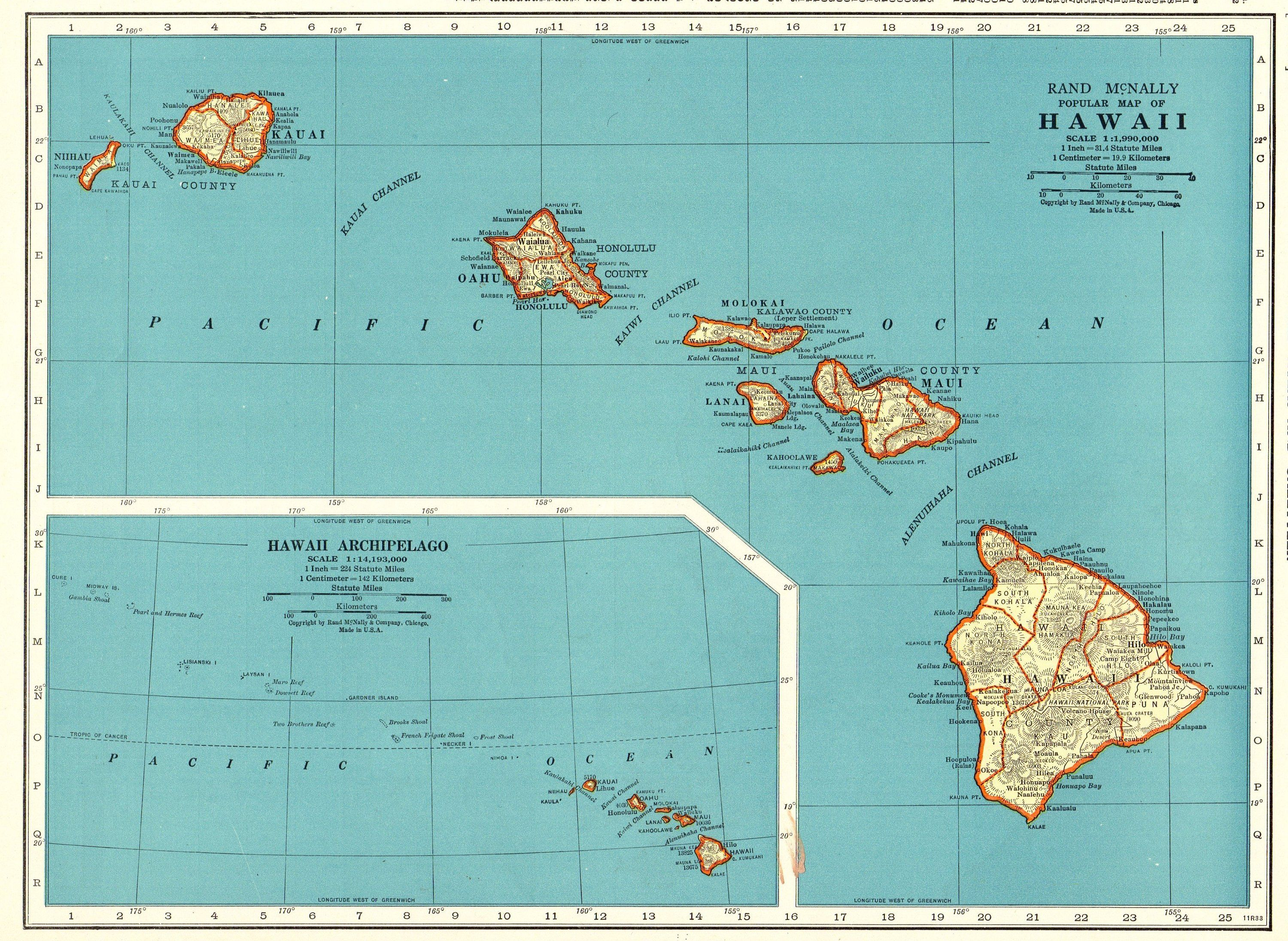 1943 Antique Hawaii Map Vintage Map Of Hawaii State Map Hawaii Print