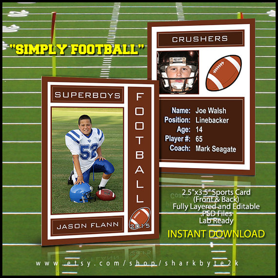 2017 Football Sports Trading Card Template For Photoshop SIMPLY
