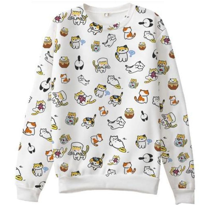 Harajuku Cat backyard Anime Hoodies Sweet Japanese Kawaii Clothes ...