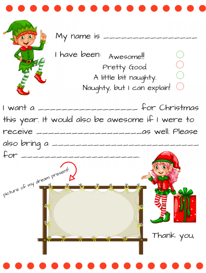 Free Dear Santa Letter Printable  Fill In Blank Santa Letter For