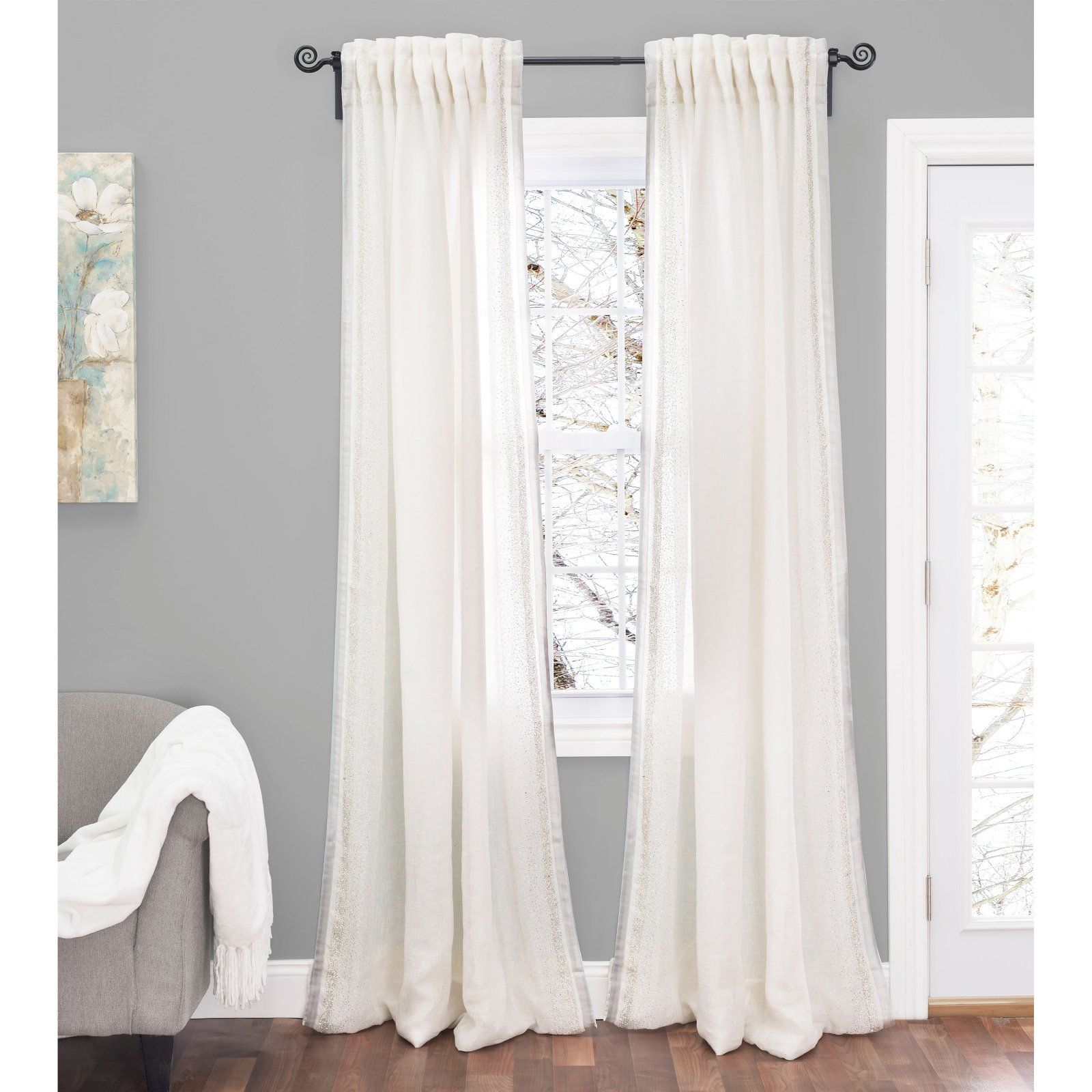 Cloud9 Design Lurex Curtain Panel With Silver Hand Beading Ivory