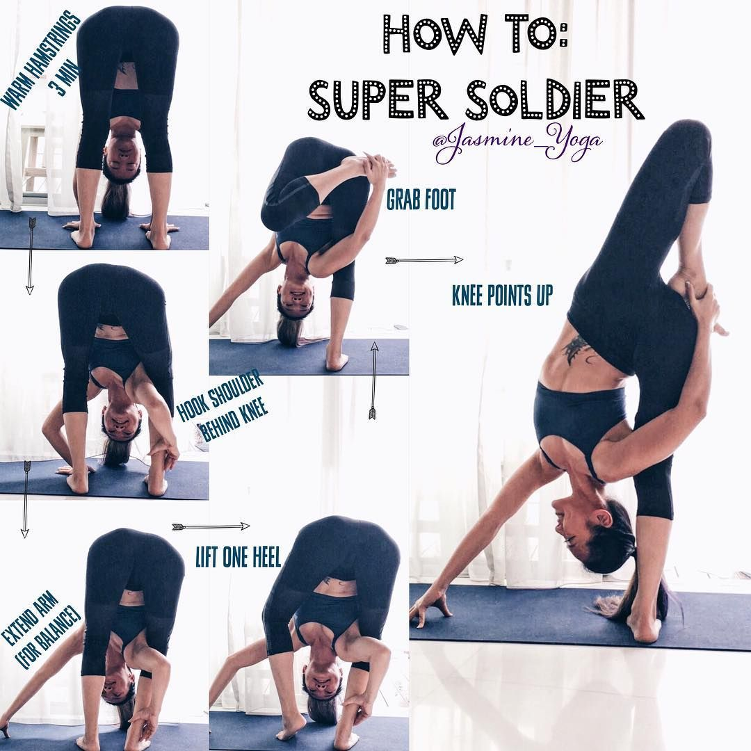 #jasmineYogaTutorial : #SuperSoldier Easier than it looks. So dont feel intimidated. Give it a try :) Tricks / Tips 1) stretch out your hamstrings. a lot. This pose needs you to push against your shoulder to get the bottom leg completely straight so that means more work. Make sure hamstrings are warm before trying. 2) Get your shoulder IN! Not just touching the side of ur knee but all the way behind and in. 3) When trying to hook the shoulder, use one hand on the calf like I did in photos...