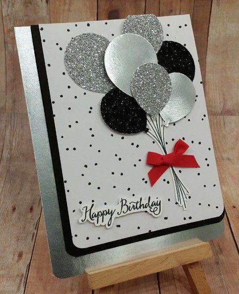 Sparkly Happy Birthday Balloons Pinkstampagne Handmade Birthday Cards Happy Cards Birthday Card Craft