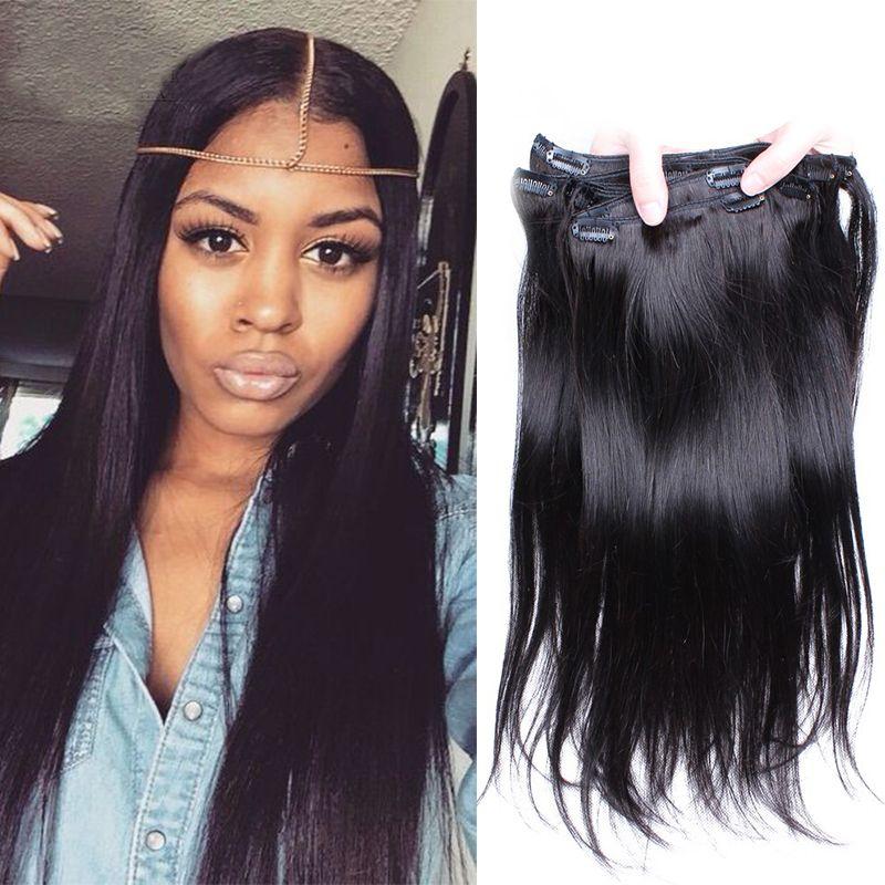 7a Straight Clip In Human Hair Extensions Peruvian Straight Virgin