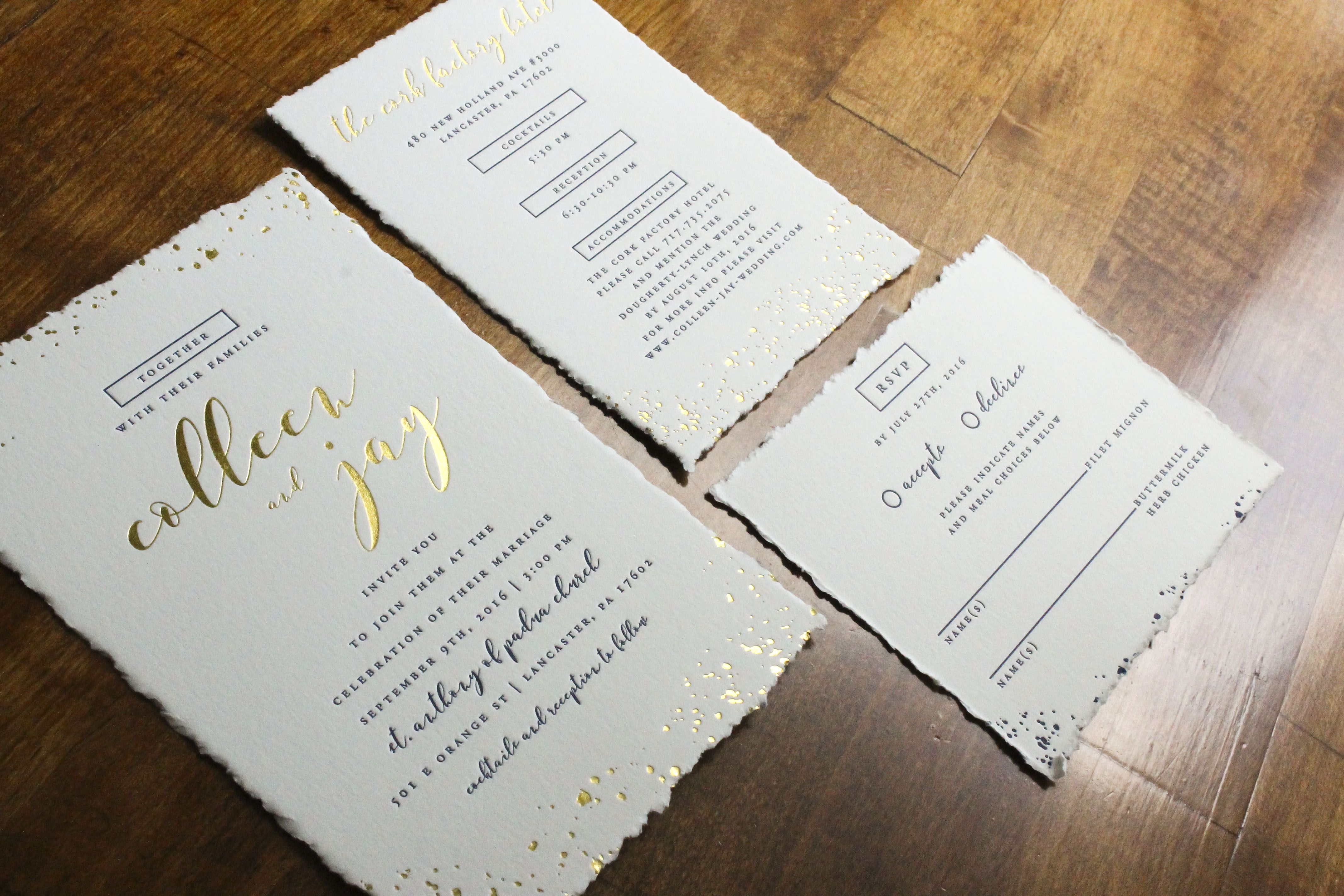 letterpress #goldfoil wedding invitations from stockandstamp.com ...