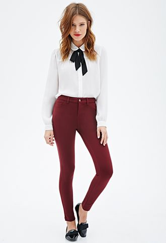 red skinny jeans, perfect outfit, bow tie, forever 21, 2015