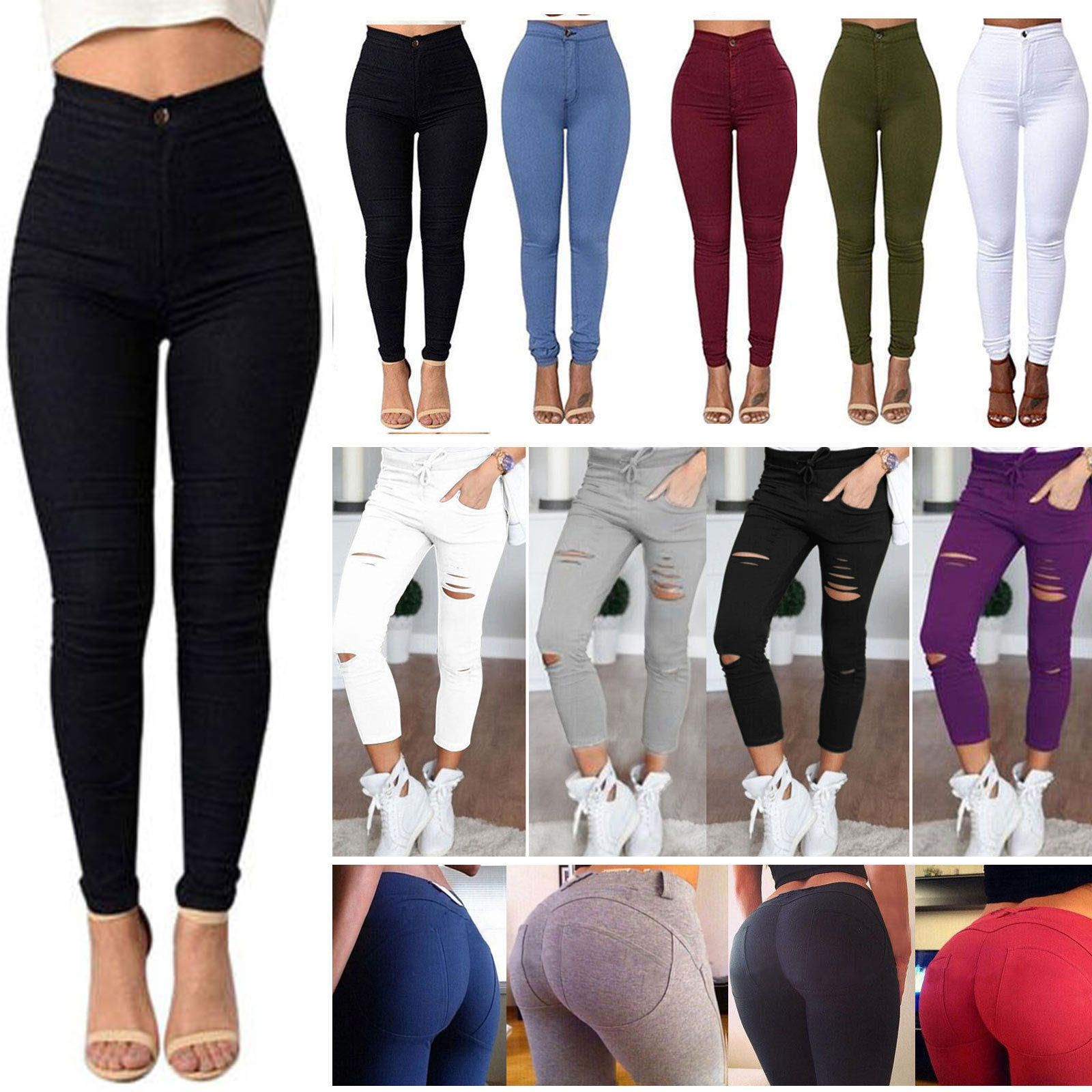 Womens Stretch Ripped Jeggings Denim High Waisted Pants Jeans Skinny Trousers