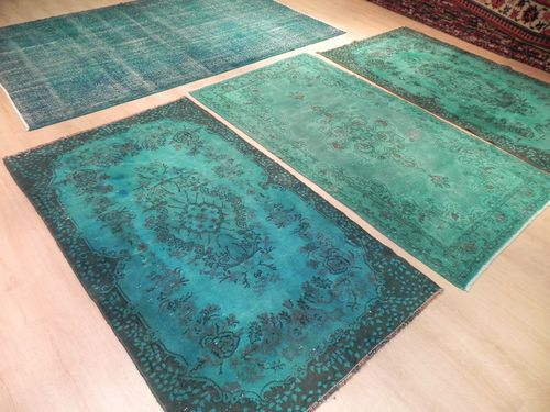 Overdyed Vintage Blue Turquoise Turkish Rug Custom Made Patchwork Carpets Turquoise Living