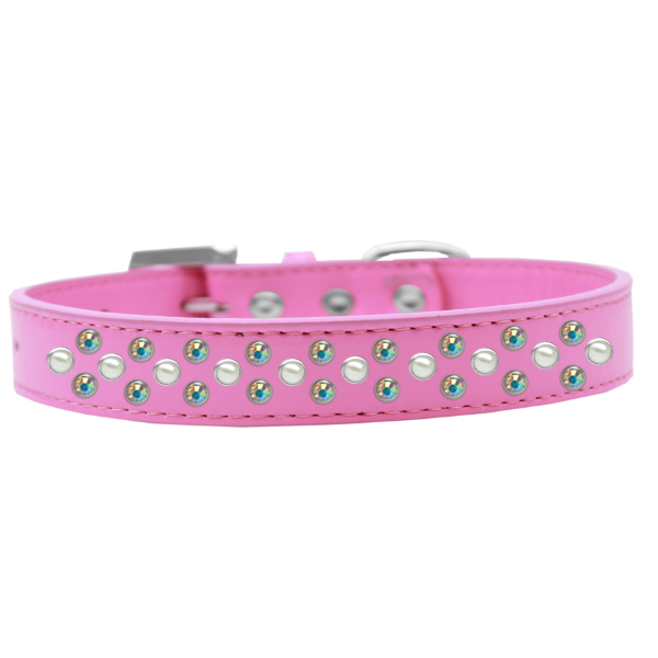 Sprinkles Dog Collar Pearl and AB Crystals Bright Pink