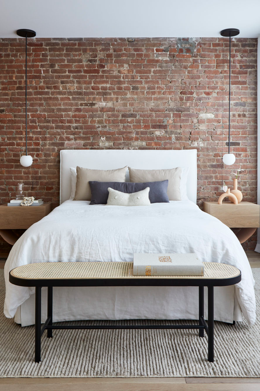 Soho Loft Tina Rich Design Brick wall bedroom, Brick