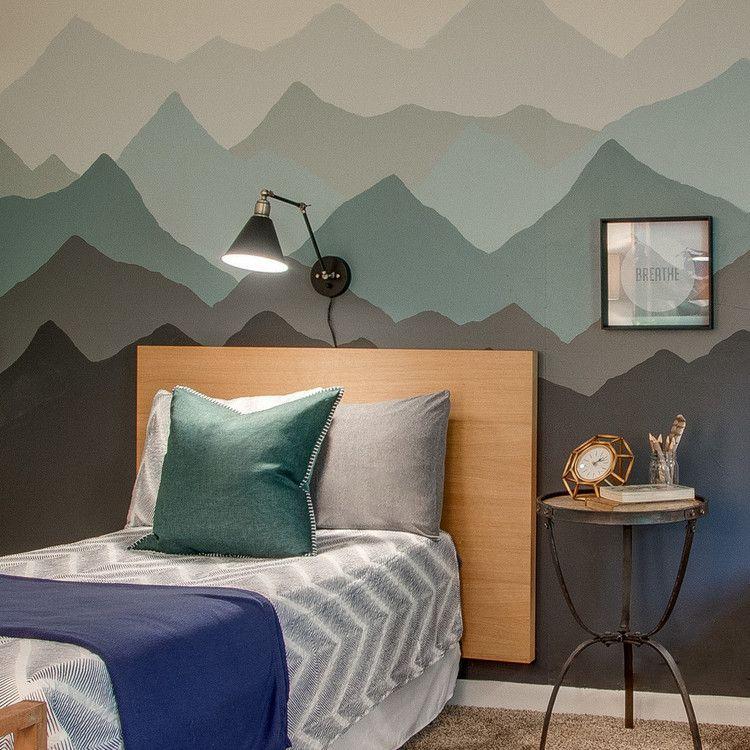 Mountain Mural Tutorial In A Boys Bedroom Cool Kids Bedrooms