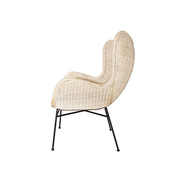 Iris Armchair Whitewash Rattan Accent U0026 Occasional Chairs ($425) ❤ Liked On  Polyvore Featuring
