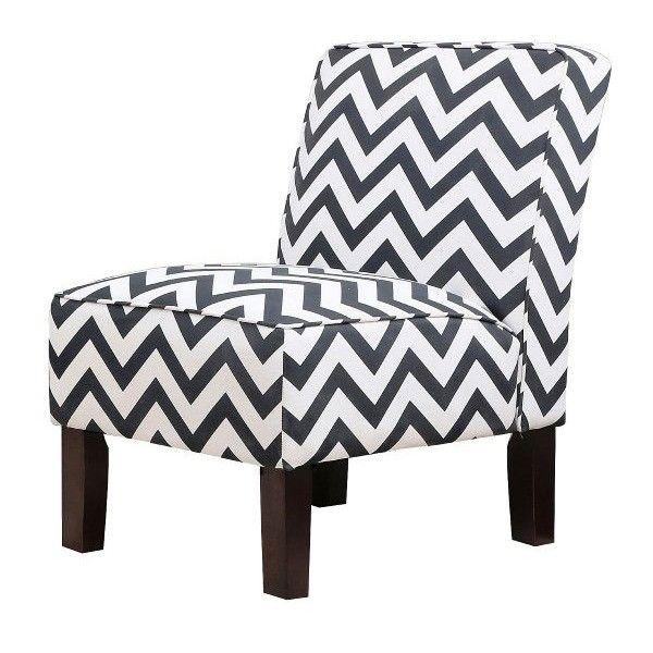 Abbyson Living Natalia Black Chevron Linen Slipper Chair (320 CAD) ❤ Liked  On Polyvore
