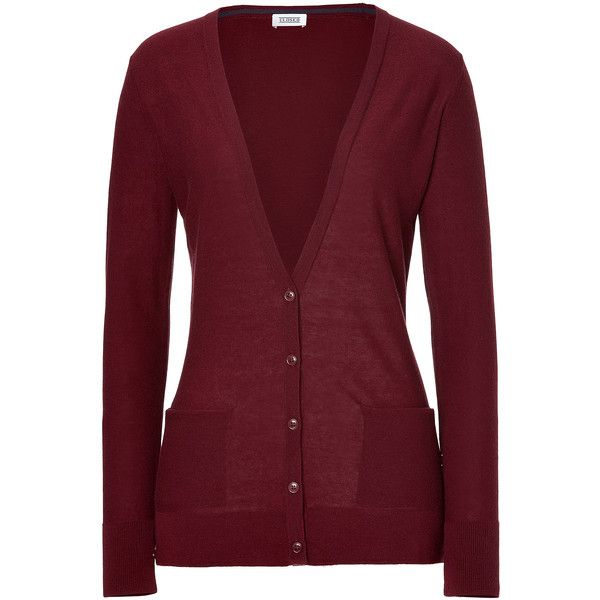 CLOSED Wool-Cashmere Cardigan In Deep Red (1.015 VEF) ❤ liked on Polyvore  featuring tops 8e3f3a0fd