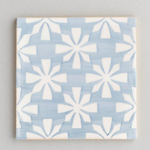 Gaia Tile Handpainted Handmade Patterned Grey And White