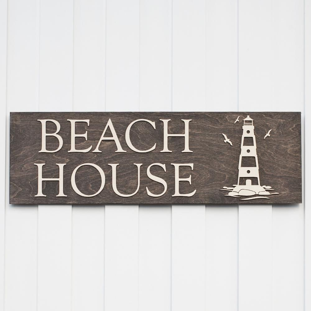 Beach House Sign With Light Walnut Wood Nautical Decor Gifts Home Giftedoccasion