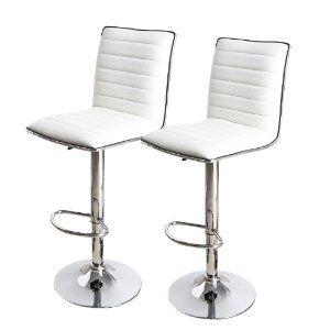 Swell Adeco Goobies White Adjustable Bar Stools Set Of 2 Ch0029 Inzonedesignstudio Interior Chair Design Inzonedesignstudiocom
