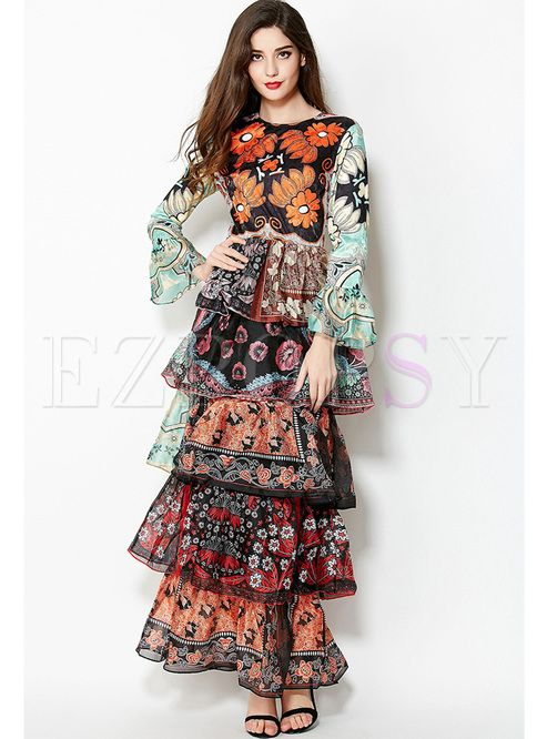 bd4788708664 Shop for high quality Chic Floral Print Layered Slim Maxi Dress online at  cheap prices and discover fashion at Ezpopsy.com