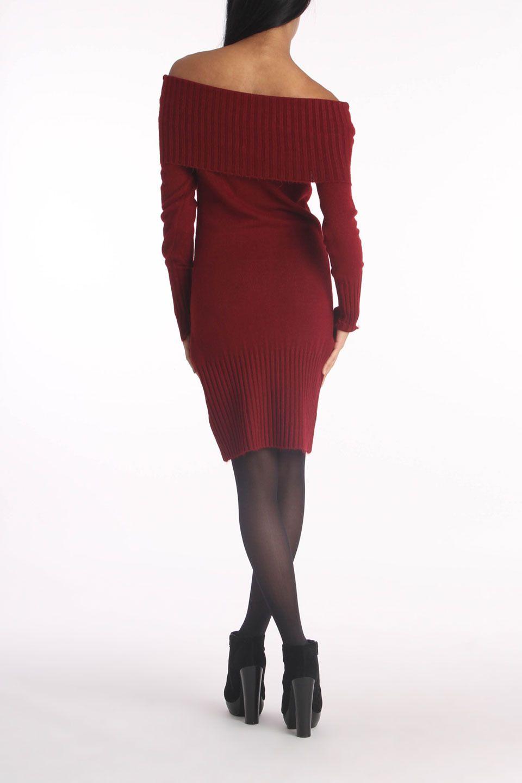 Patrizia Luca Button Sweater Dress In Burgundy