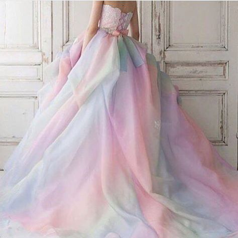 Pastel Coloured Wedding Gown | wed gown fav | Pinterest | Colored ...