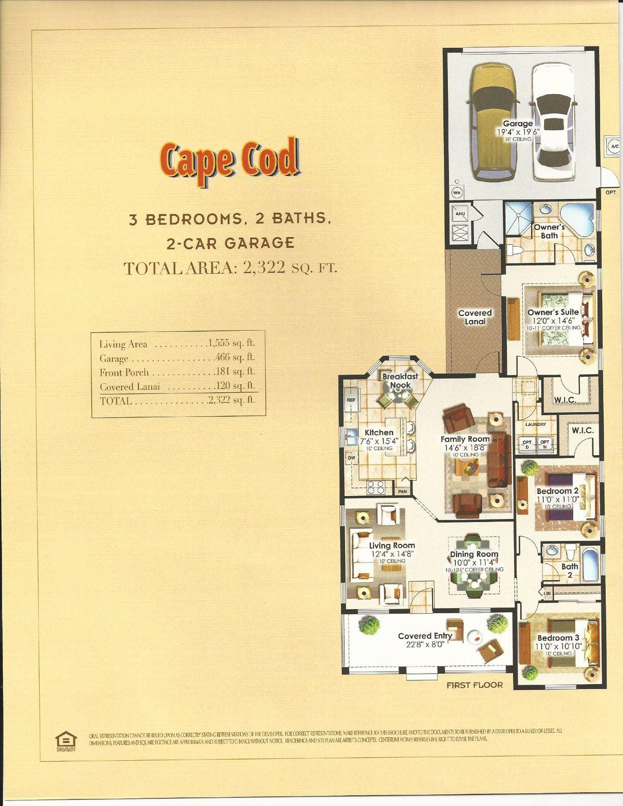 Summerlake Center Line Homes Gables Collection Cape Cod Floor Plan ...