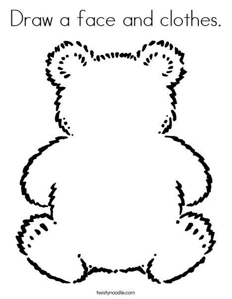 Draw A Face And Clothes Coloring Page Teddy Bear Coloring Pages