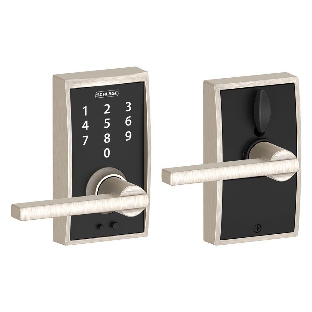 Schlage Century Satin Nickel Electronic Door Lock With Latitude Door Lever Fe695 Cen 619 Lat The Home Depot Schlage Keyless Door Lock Electronic Door Locks