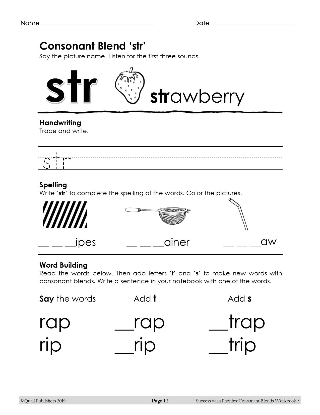 Learn the 3-letter consonant blend /str/ and more in the Success with  Phonics series.   Blends worksheets [ 1650 x 1275 Pixel ]