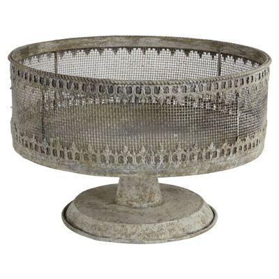 Metal cake stand with decorative trim. Aidan gray (135)