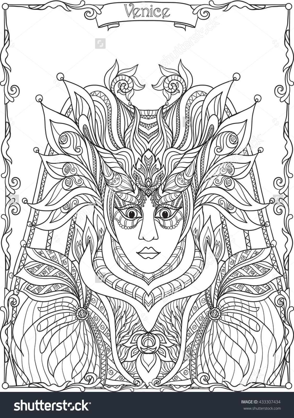 Adult Coloring Pages Venetian Masks - Worksheet & Coloring Pages